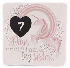 Countdown Days Until I Am A Big Sister Unicorn Hanging Wooden Plaque Sign