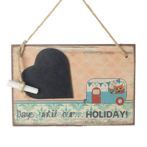 Countdown Days Until Our Holiday Caravan Hanging Wooden Plaque Sign