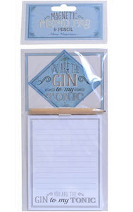 You Are The Gin To My Tonic Magnetic Shopping List Memo Pad