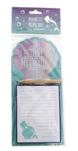 Blue I Believe In Mermaids Magnetic Shopping List Memo Pad