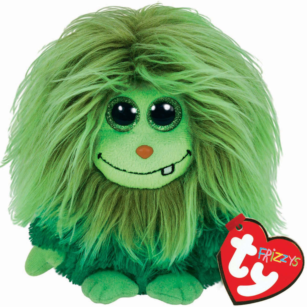 Large TY Frizzys Scoops Green Soft Toy Beanie Monster Teddy