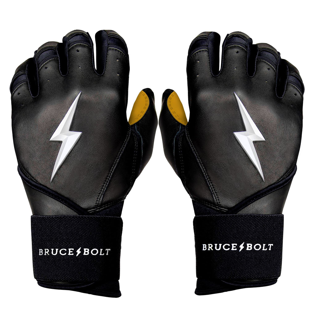BRUCE BOLT 2020 Premium Pro BLACK Batting Gloves used by MLB players like Terrance Gore, Pablo Lopez, Trevor Richards, Stephen Brault and promoted by Trey Hillman.  These are the best batting gloves in baseball. They are Cabretta leather batting gloves. The batting gloves with the BOLT on them. These are the batting gloves that were featured in the My Hustle video on YouTube about Bear Mayer and BRUCE BOLT.
