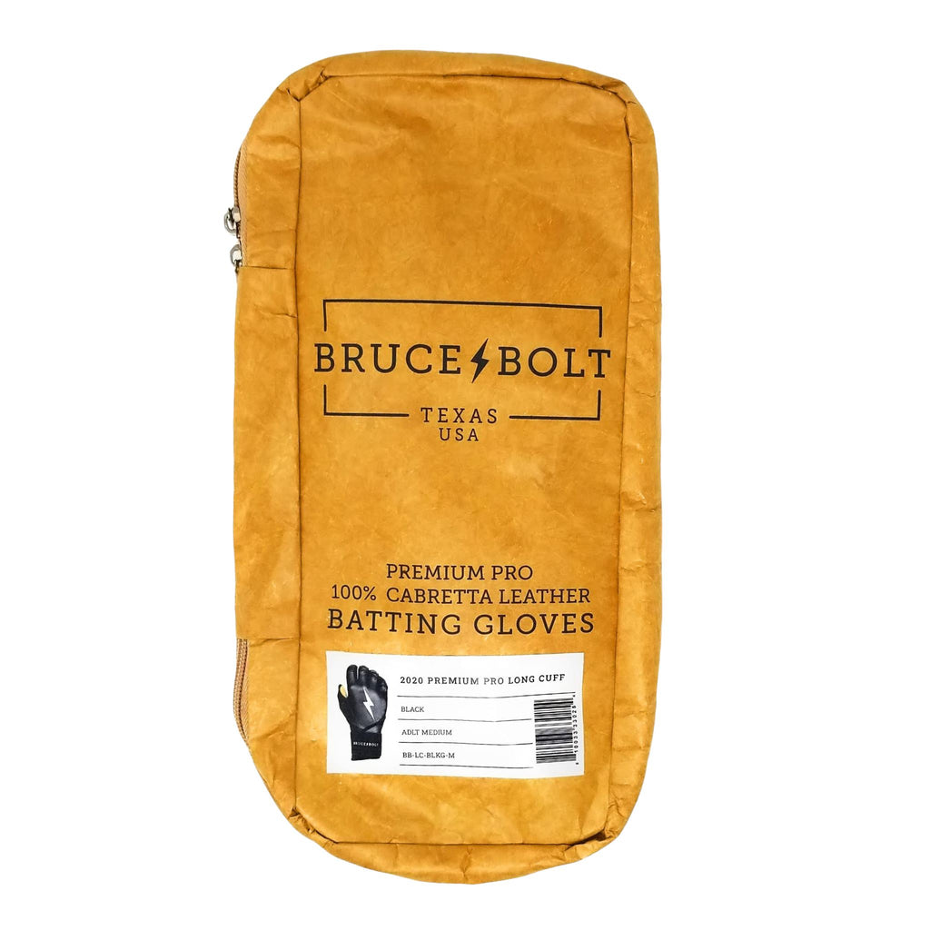 BRUCE BOLT 2021 PREMIUM PRO GLOVE BAG for Hunter Green BRUCE BOLT Long Cuff Batting Gloves. This is a batting glove bag made specifically for carrying BRUCE BOLT batting gloves.  The glove is kraft or tan color with black text and a black lightning bolt.  This bag has BRUCE BOLT Stickers and a Helmet Sticker inside.