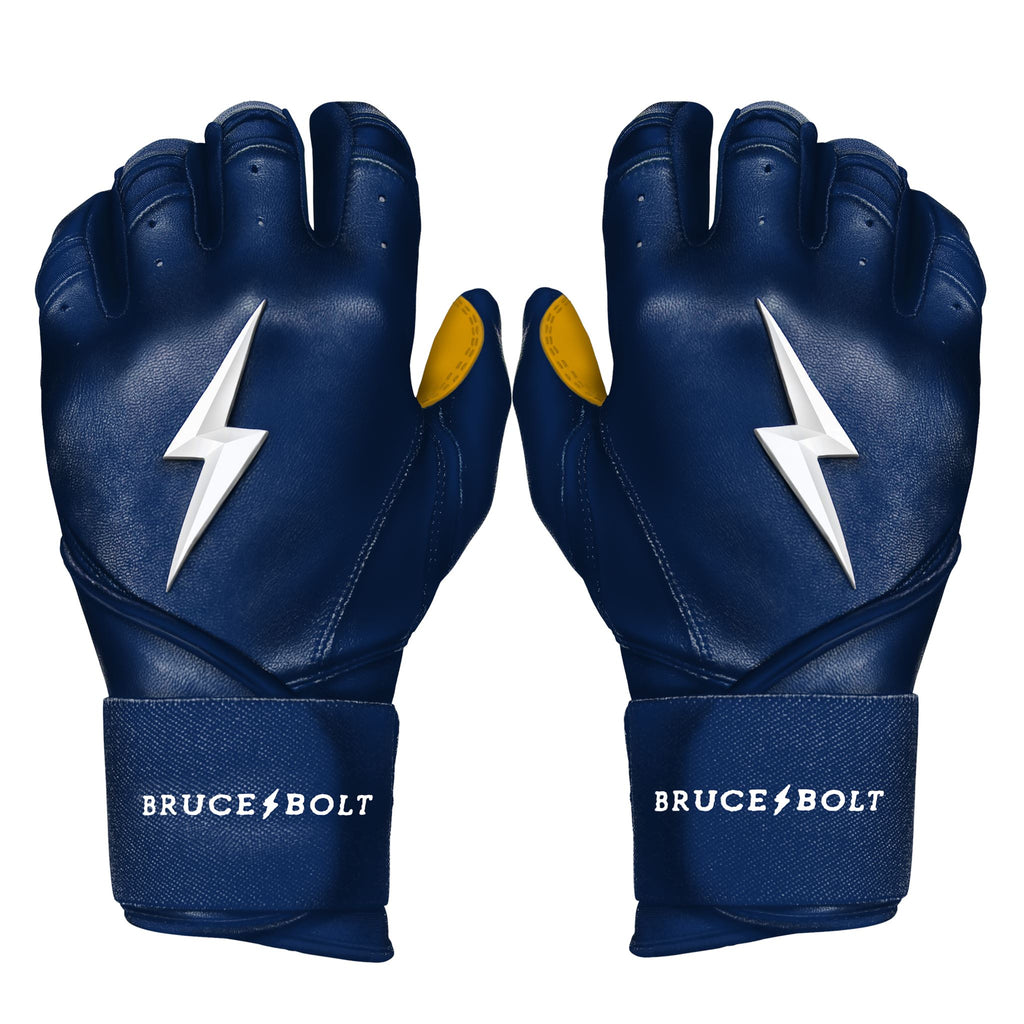 BRUCE BOLT 2020 Premium Pro NAVY Batting Gloves used by MLB players like Terrance Gore, Pablo Lopez, Trevor Richards, Stephen Brault and promoted by Trey Hillman.  These are the best batting gloves in baseball. They are Cabretta leather batting gloves. The batting gloves with the BOLT on them. These are the batting gloves that were featured in the My Hustle video on YouTube about Bear Mayer and BRUCE BOLT.