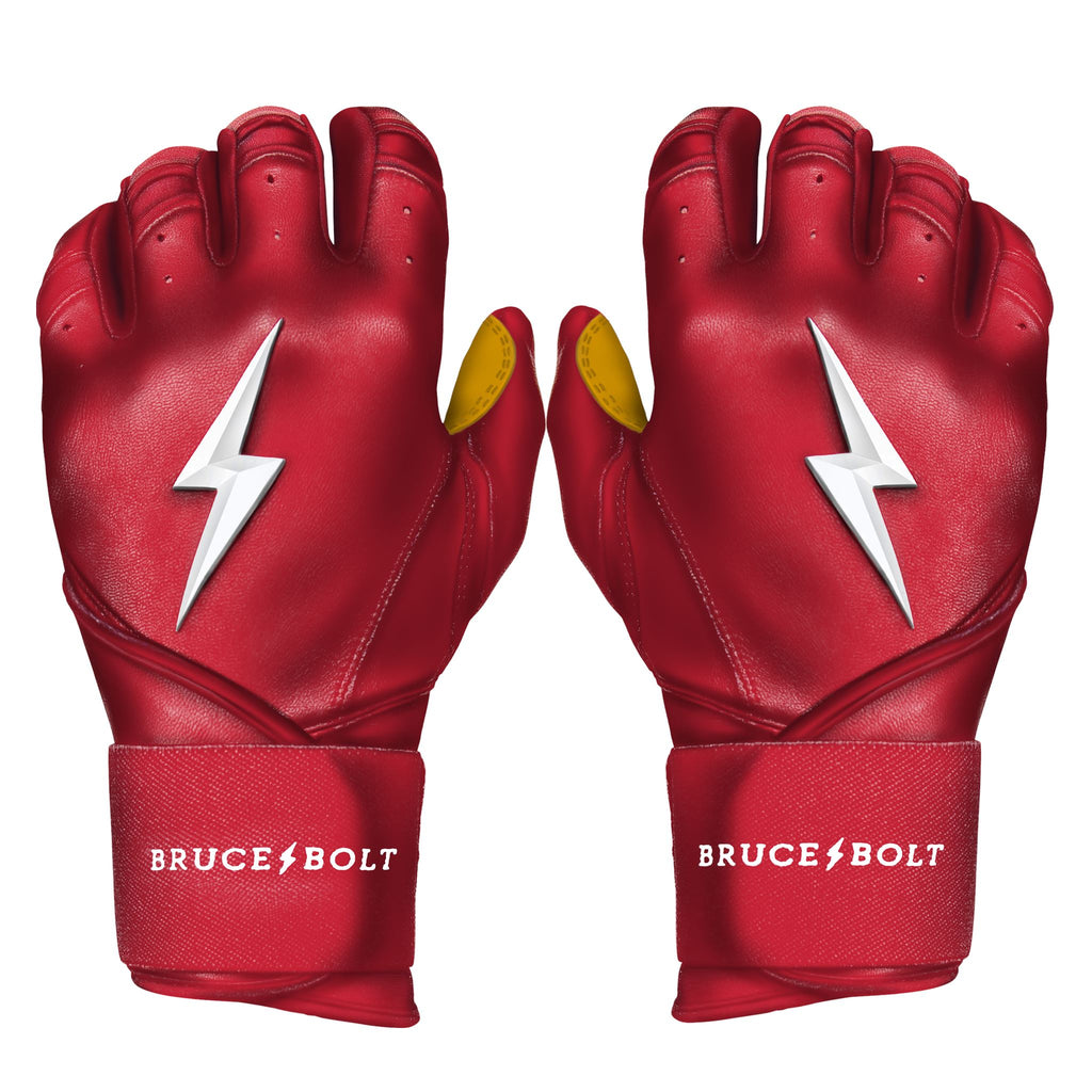 BRUCE BOLT 2020 Premium Pro RED Batting Gloves used by MLB players like Terrance Gore, Pablo Lopez, Trevor Richards, Stephen Brault and promoted by Trey Hillman.  These are the best batting gloves in baseball. They are Cabretta leather batting gloves. The batting gloves with the BOLT on them. These are the batting gloves that were featured in the My Hustle video on YouTube about Bear Mayer and BRUCE BOLT.