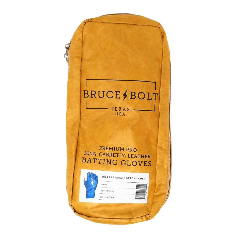 BRUCE BOLT Long Cuff Royal 2021 PREMIUM PRO GLOVE BAG. This is a batting glove bag made specifically for carrying BRUCE BOLT batting gloves.  The glove is kraft or tan color with black text and a black lightning bolt.  This bag has BRUCE BOLT Stickers and a Helmet Sticker inside.