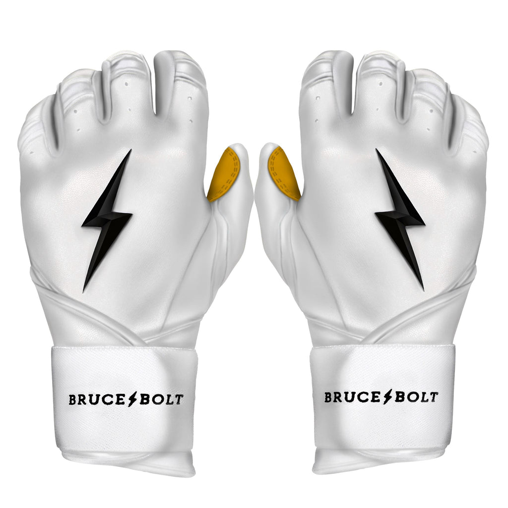 BRUCE BOLT 2020 Premium Pro WHITE Batting Gloves used by MLB players like Terrance Gore, Pablo Lopez, Trevor Richards, Stephen Brault and promoted by Trey Hillman.  These are the best batting gloves in baseball. They are Cabretta leather batting gloves. The batting gloves with the BOLT on them. These are the batting gloves that were featuWHITE in the My Hustle video on YouTube about Bear Mayer and BRUCE BOLT.