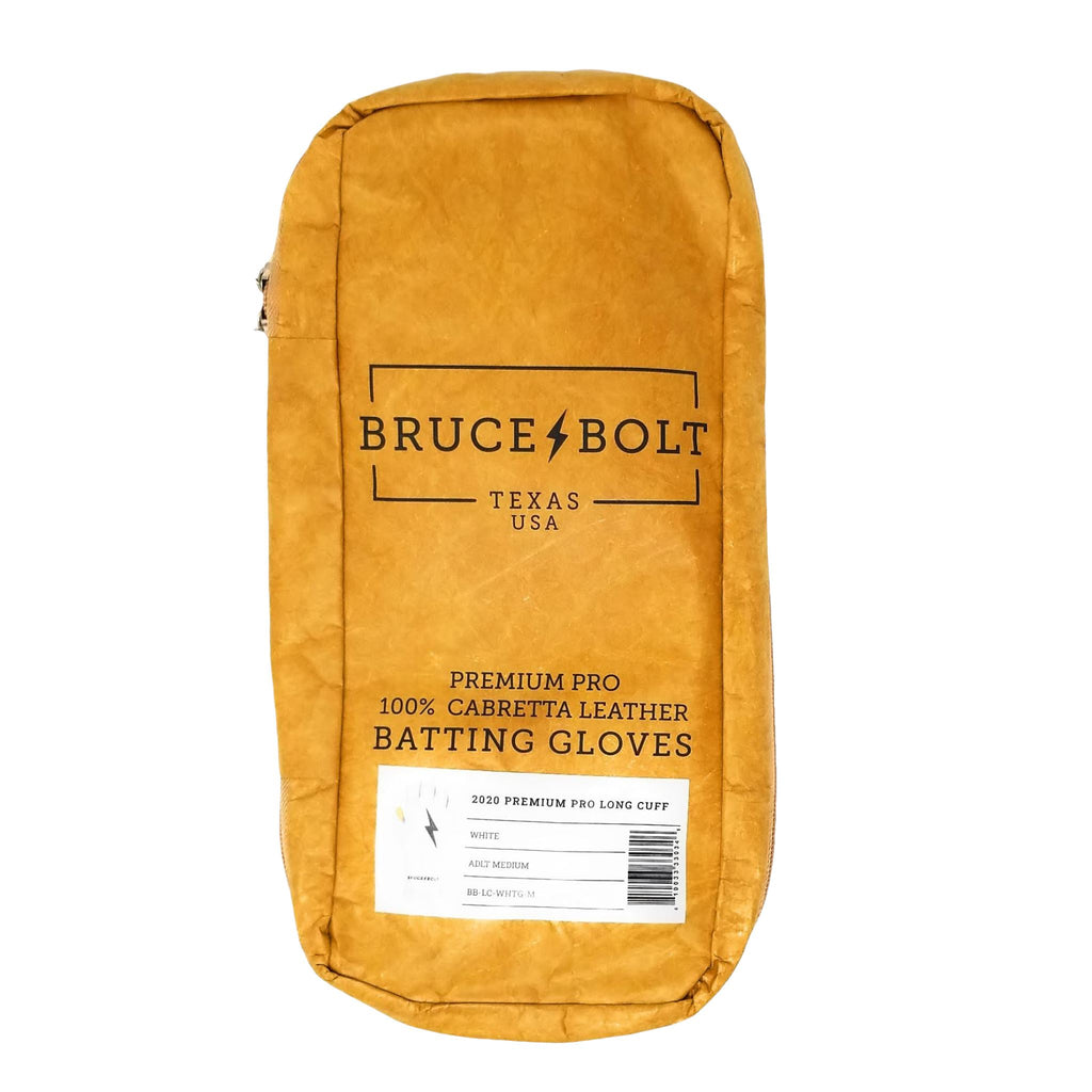 BRUCE BOLT 2021 PREMIUM PRO GLOVE BAG for White Premium Pro BGs. This is a batting glove bag made specifically for carrying BRUCE BOLT batting gloves.  The glove is kraft or tan color with black text and a black lightning bolt.  This bag has BRUCE BOLT Stickers and a Helmet Sticker inside.