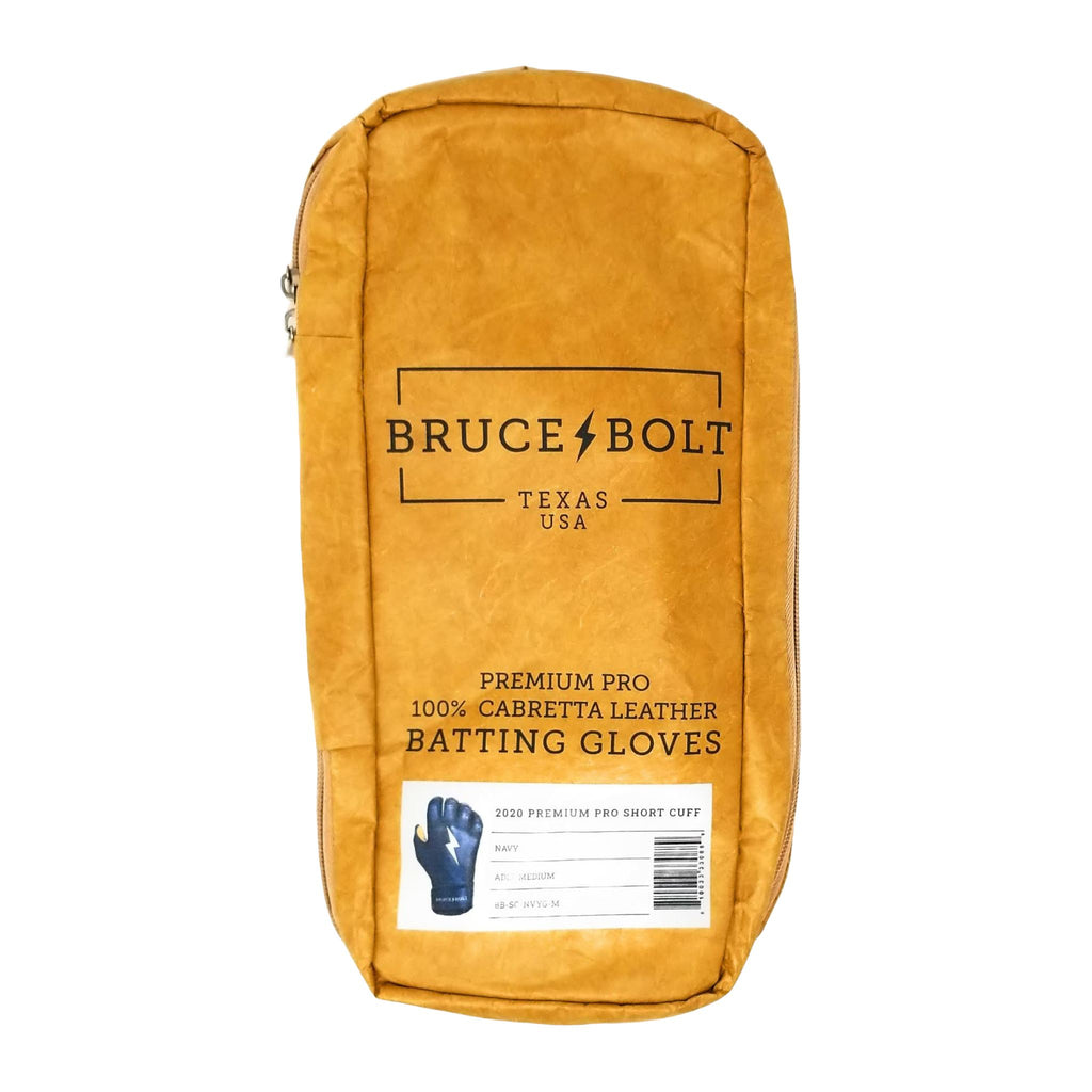 BRUCE BOLT 2021 PREMIUM PRO GLOVE BAG. This is a batting glove bag made specifically for carrying BRUCE BOLT batting gloves.  The glove is kraft or tan color with black text and a black lightning bolt.  This bag has BRUCE BOLT Stickers and a Helmet Sticker inside.
