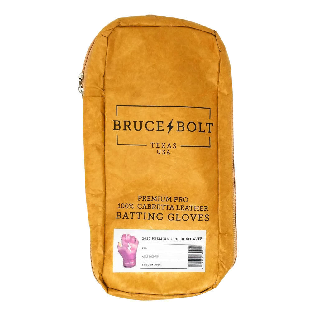 BRUCE BOLT Red Short Cuff 2021 PREMIUM PRO GLOVE BAG. This is a batting glove bag made specifically for carrying BRUCE BOLT batting gloves.  The glove is kraft or tan color with black text and a black lightning bolt.  This bag has BRUCE BOLT Stickers and a Helmet Sticker inside.
