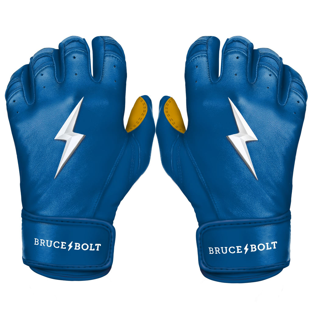 BRUCE BOLT 2020 Premium Pro ROYAL Batting Gloves used by MLB players like Terrance Gore, Pablo Lopez, Trevor Richards, Stephen Brault and promoted by Trey Hillman.  These are the best batting gloves in baseball. They are Cabretta leather batting gloves. The batting gloves with the BOLT on them. These are the batting gloves that were featuROYAL in the My Hustle video on YouTube about Bear Mayer and BRUCE BOLT.
