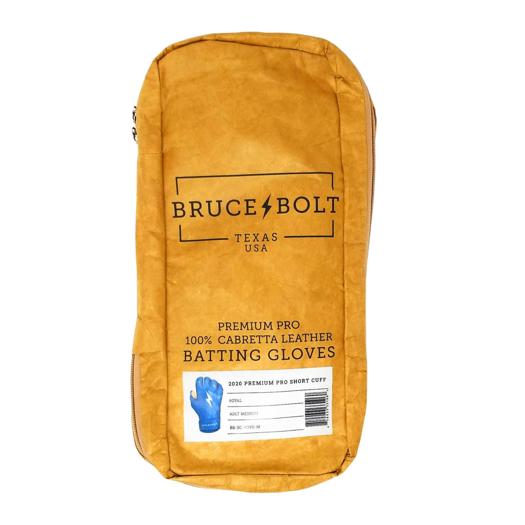 BRUCE BOLT Royal Short Cuff 2021 PREMIUM PRO GLOVE BAG. This is a batting glove bag made specifically for carrying BRUCE BOLT batting gloves.  The glove is kraft or tan color with black text and a black lightning bolt.  This bag has BRUCE BOLT Stickers and a Helmet Sticker inside.
