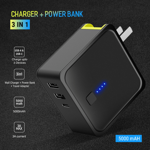 3 in 1 WallCharger + PowerBank + TravelAdapter