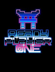 Ready Player One Space Invaders Logo Tee, Black Gamer Girl Mens T-Shirt