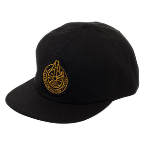 Millennium Falcon Spacecraft Official Seal Flatbill, Star Wars Hat with Embroidered Design