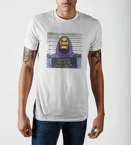 Skeletor Mug Shot  White T-Shirt