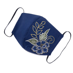 Navy Blue Peonies Facemask