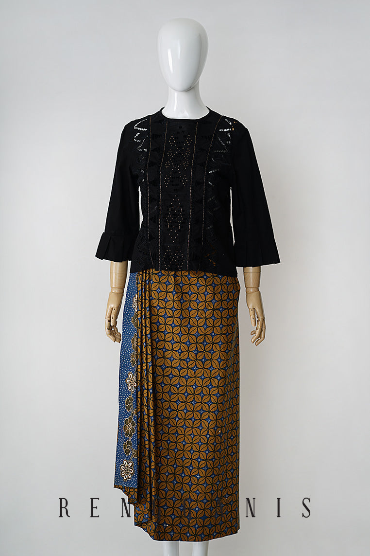 Uncut Batik Sarong Skirt with Side Drape