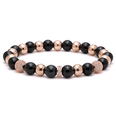 Bracelet homme Rose or en pierres naturelles - Modya -
