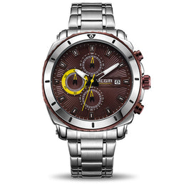 Montre Quartz Argent/Coffee - MEGIR  RELOGIO
