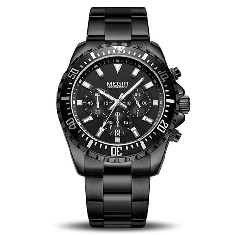 MONTRE QUARTZ NOIR - MEGIR LUXURY RELOGIO