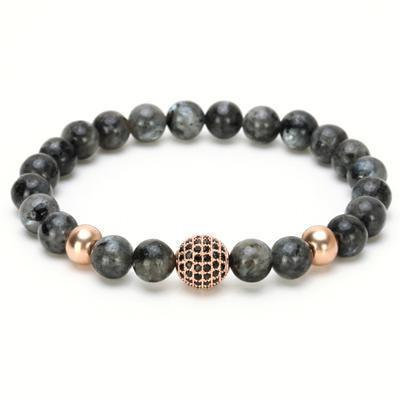 Rose Or / S      180MM Bracelet homme rosé Or en pierres minérales marbré anthracite- Nazar