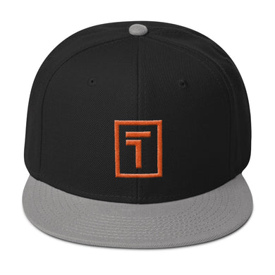 Black / Gray Snapback Hat w/ Orange Logo