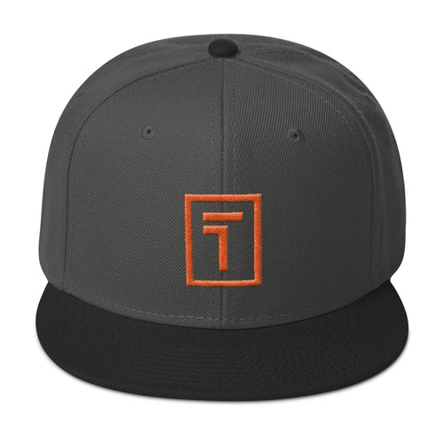Dark Gray / Black Snapback Hat w/ Orange Logo