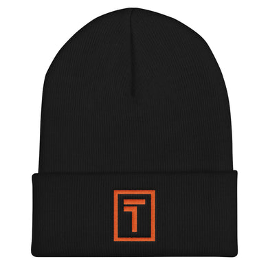 Black Beanie w/ Orange Logo