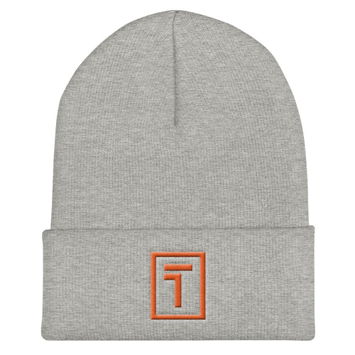 Gray Beanie w/ Orange Logo