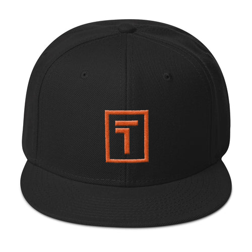 Black Snapback Hat w/ Orange Logo