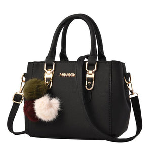 Faux Leather Pom-Pom Tote