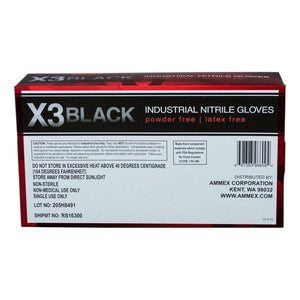 Ammex X3 Industrial Black Nitrile Disposable Gloves
