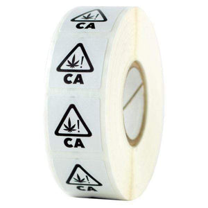 California Universal THC ! Symbol Labels - White