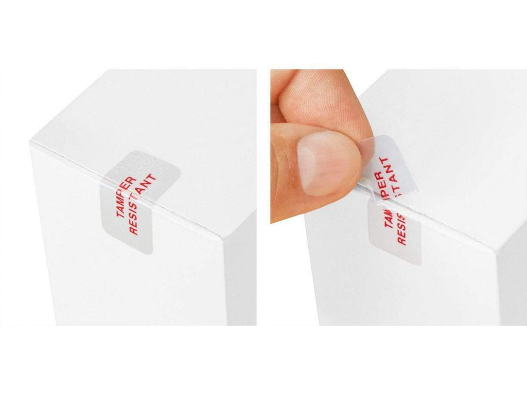 "Clear Tamper Resistant Labels (5/8"" x 1-1/4"" - 500 Count)"