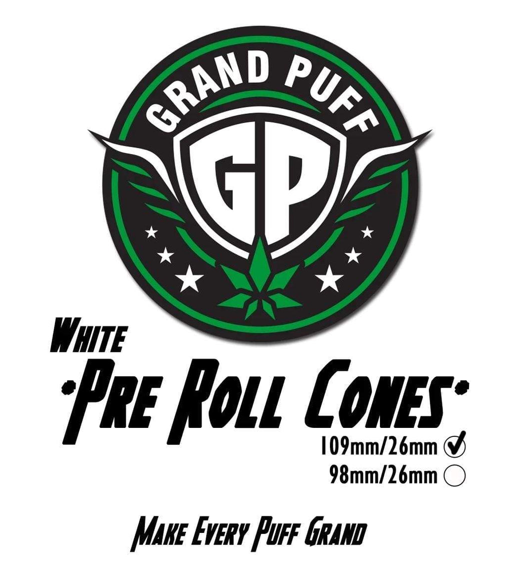 Grand Puff Premium 109mm/26mm White Pre-Roll Cones | 800 cones per box