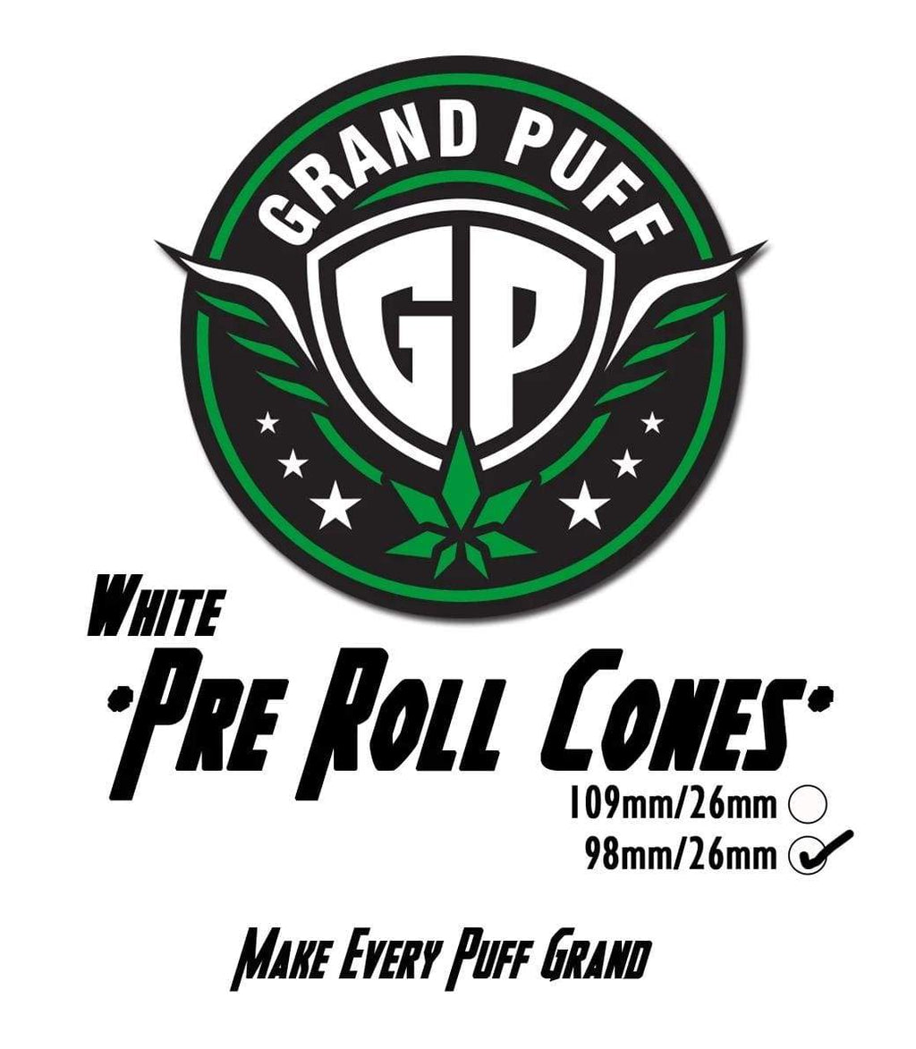 Grand Puff Premium 98mm/26mm White Pre-Roll Cones | 800 cones per box