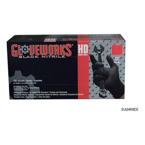 Large Gloveworks HD Industrial Black Nitrile Gloves