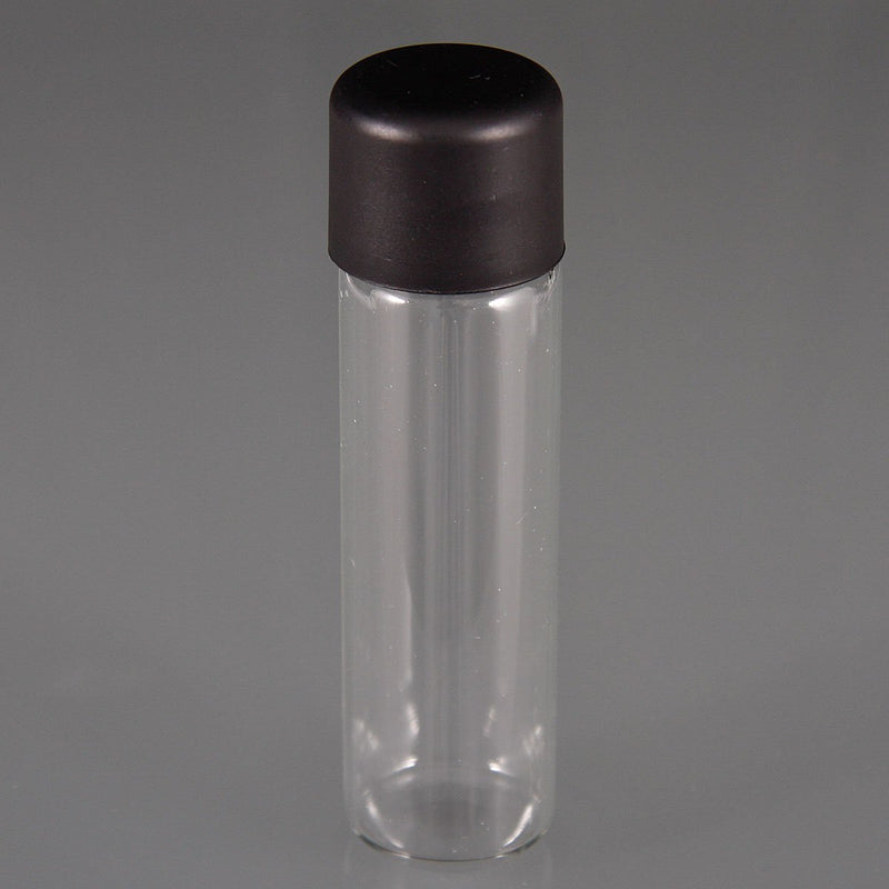 Brand King packaging-container Clear / Black Glass Tube with Child-Resistant Black Lid 22mm x 81mm
