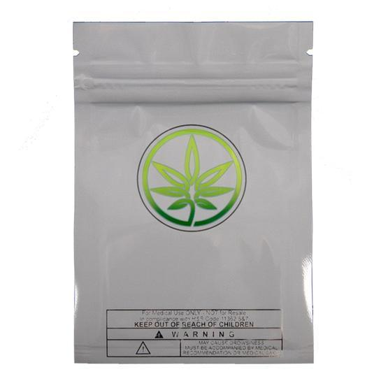 Sputnik Stock packaging-container Grey with Leaf Smell Proof Mylar Bag with Marijuana Leaf Logo (1 gram)