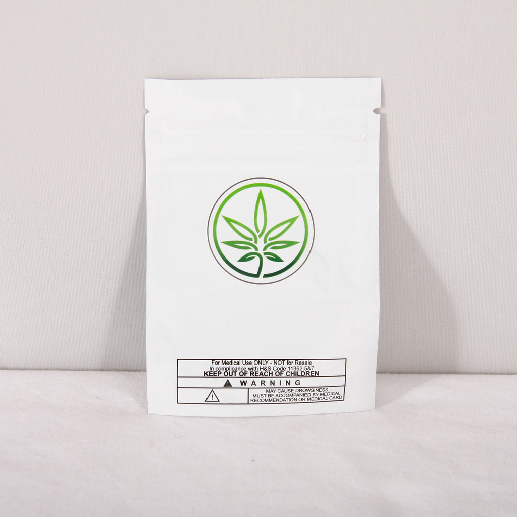 Sputnik Stock packaging-container White with Leaf Smell Proof Mylar Bag with Marijuana Leaf Logo (1 gram)