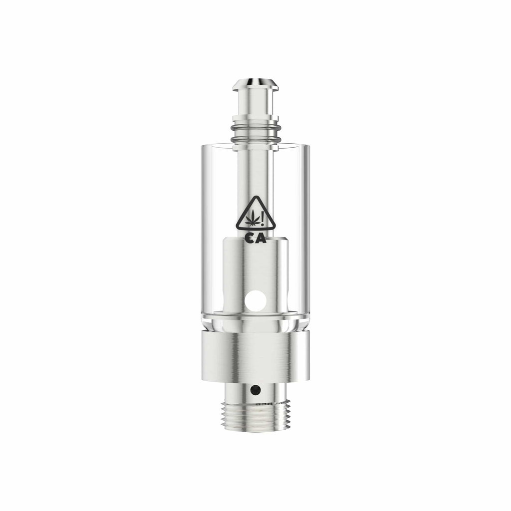 Silver AVD Eazy-Press Glass Vape Cartridge Base with California THC Warning Icon (0.5 ml, 2.0mm, CA!)