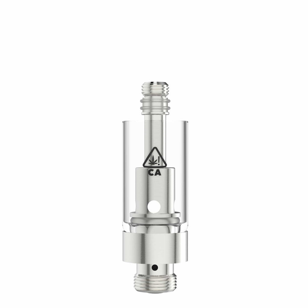 Silver AVD Glass Vape Cartridge Base with California THC Warning Icon (0.5 ml, 2.0mm, CA!)