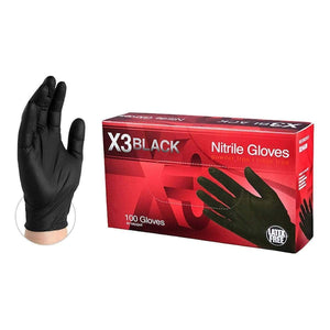 Small Ammex X3 Industrial Black Nitrile Disposable Gloves