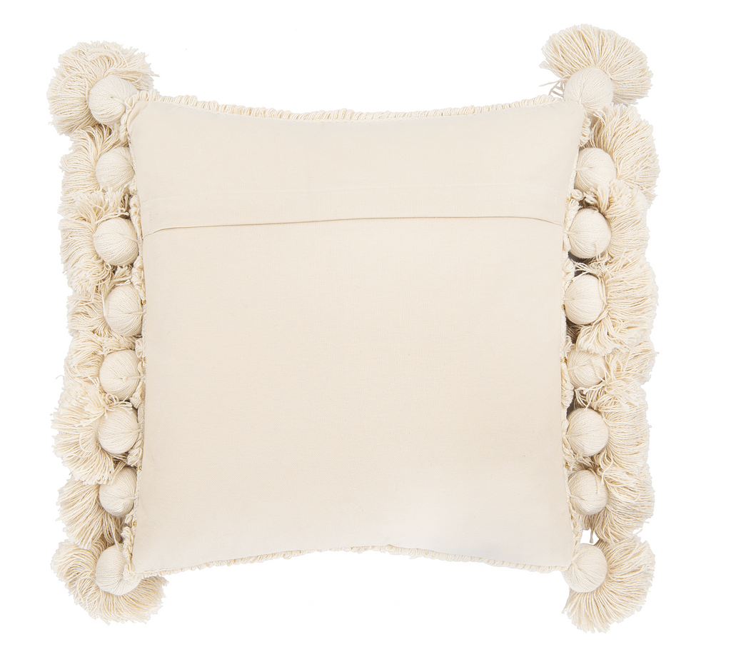 Boho Pillow with Thick Tassels