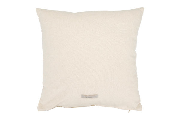 Taupe Woven Pillow with Mini Tassels
