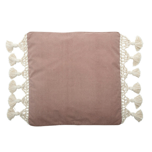 Pink Canvas Pillow with Macrame Tassels