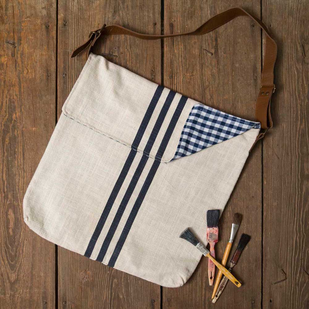 Blue Stripes Linen Tote Bag