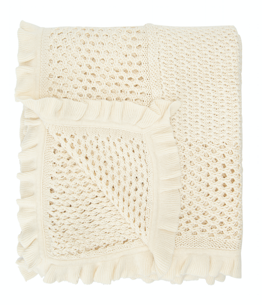 Knit and Pleated Throw with Ruffles