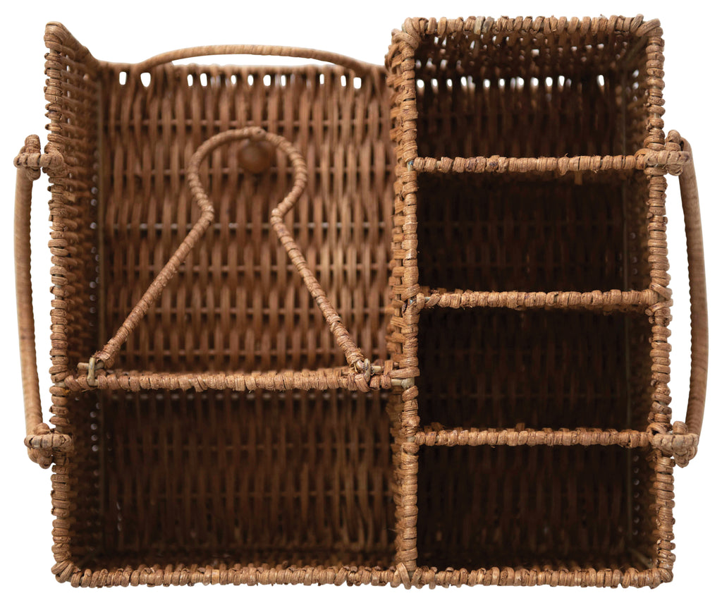 Rattan Caddy with Handles (7 Compartment Storage)